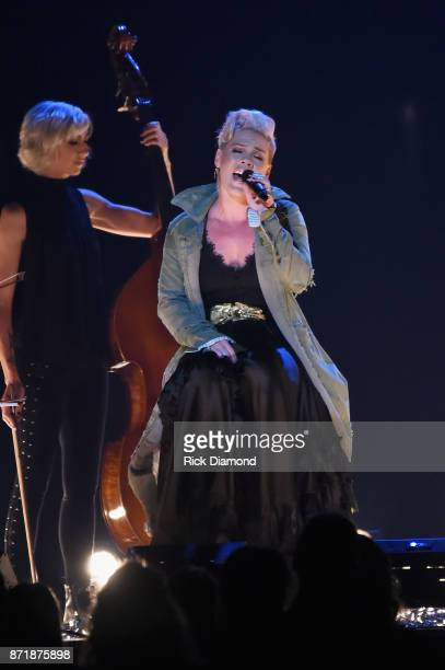 Pink performs onstage at the 51st annual CMA Awards at the Bridgestone Arena on November 8 2017 in Nashville Tennessee