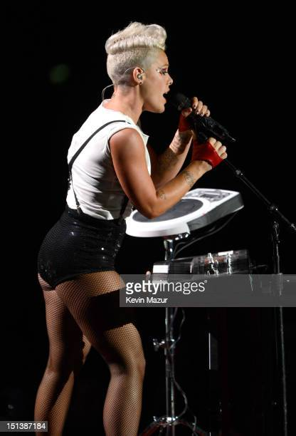 Pink performs onstage during the 2012 MTV Video Music Awards at Staples Center on September 6 2012 in Los Angeles California