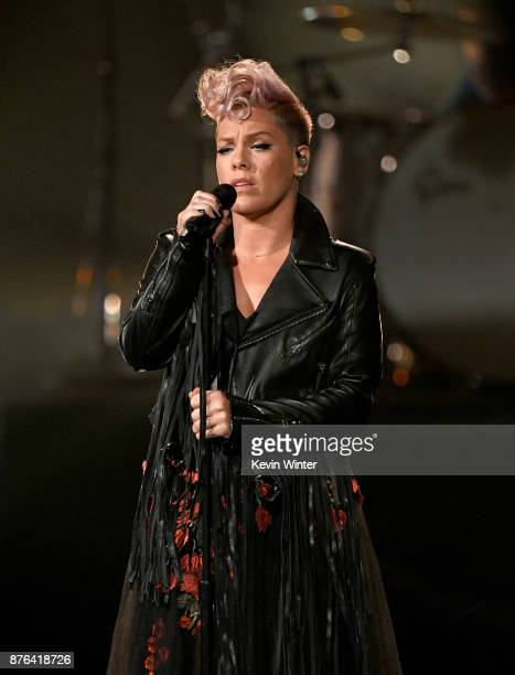 Pink performs onstage during the 2017 American Music Awards at Microsoft Theater on November 19 2017 in Los Angeles California