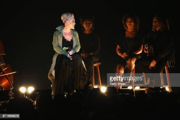 Pink performs onstage during the 51st annual CMA Awards at the Bridgestone Arena on November 8 2017 in Nashville Tennessee