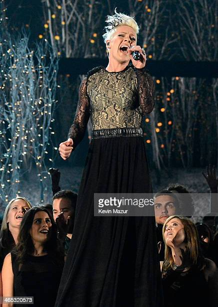 Pink performs onstage during the 56th GRAMMY Awards at Staples Center on January 26 2014 in Los Angeles California