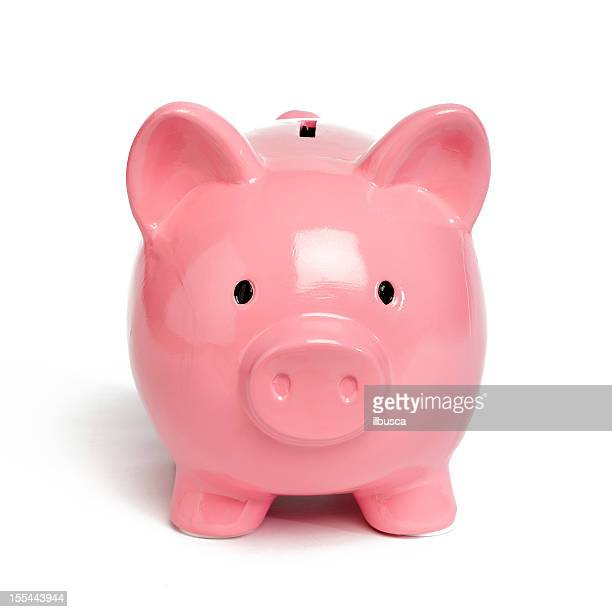 pink piggy bank isolated on white - piggy bank stock pictures, royalty-free photos & images