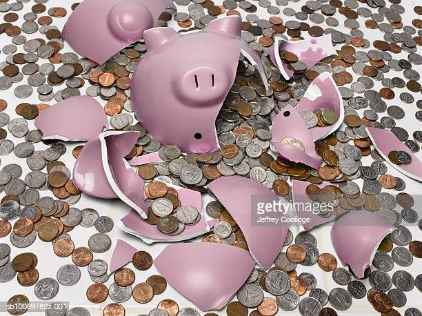 Pink piggy bank smashed with coins on floor