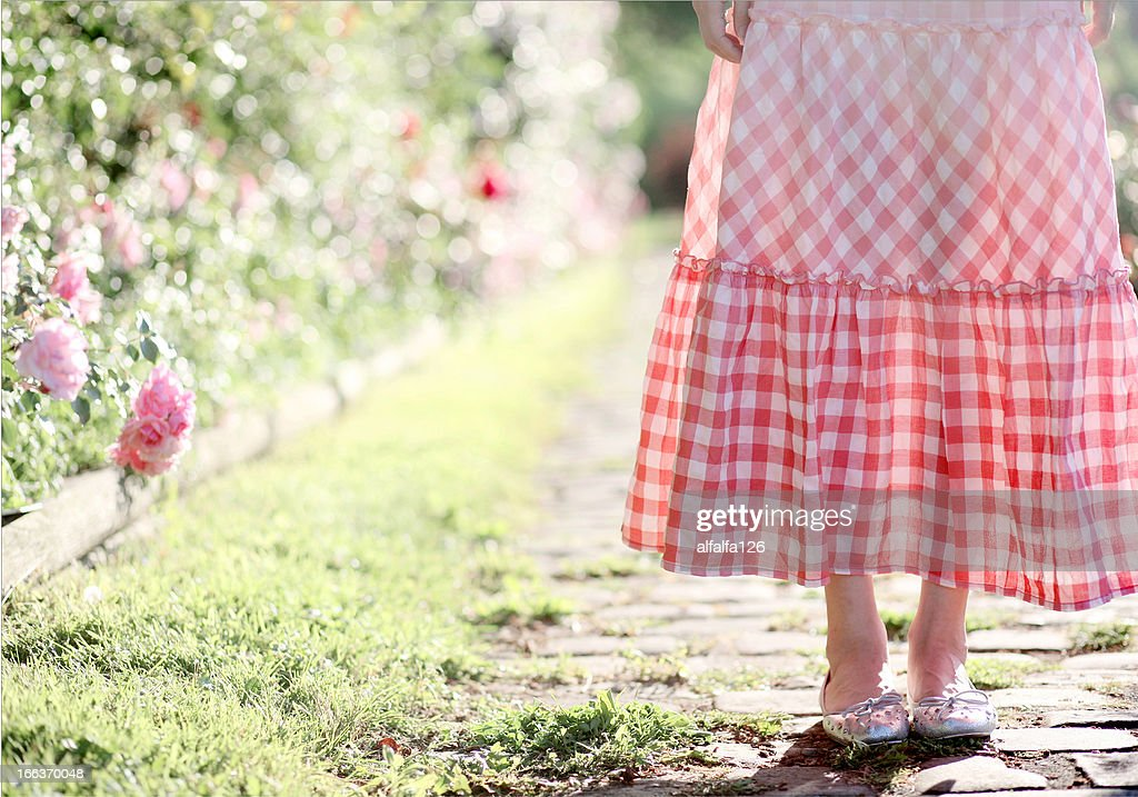 Pink plaid skirt : Stock Photo