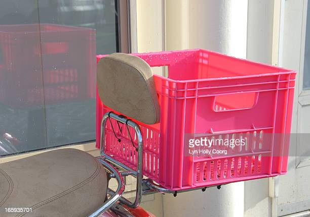pink plastic crate on scooter - lyn holly coorg stock pictures, royalty-free photos & images