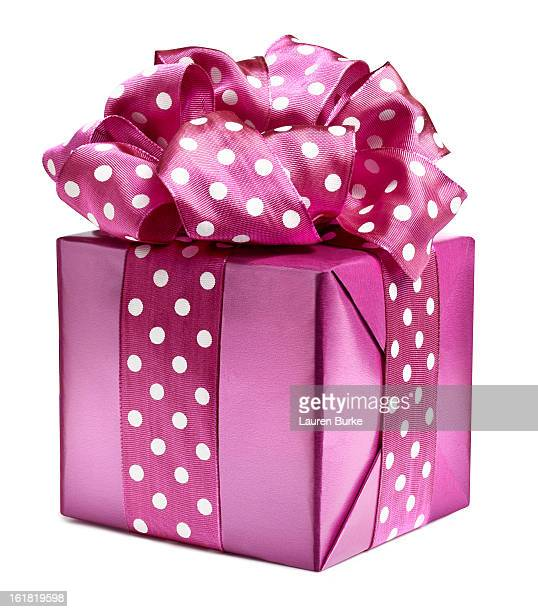 pink polka dot gift - birthday gift stock pictures, royalty-free photos & images