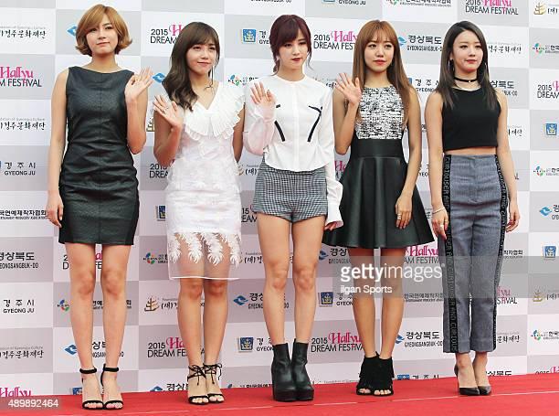 A pink pose for photographs during the 2015 Hallyu Dream Festival at Gyeongju Civic Stadium on September 20 2015 in Gyeongju South Korea