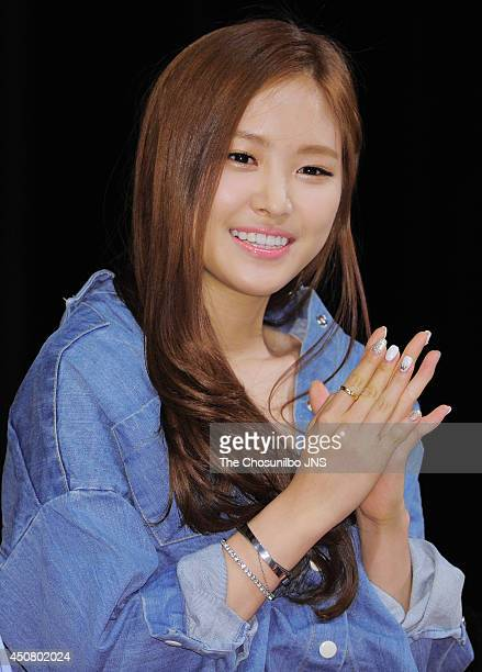 A pink pose for photographs during their 2nd official fan meeting 'A pink Picnic' at Kwangwoon university on June 14 2014 in Seoul South Korea