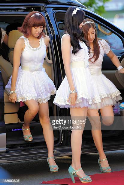 A pink pose for photographs upon arrival during 2012 Hallyu Dream Festival at GyeongjuPlayground on September 23 2012 in Gyeongju South Korea