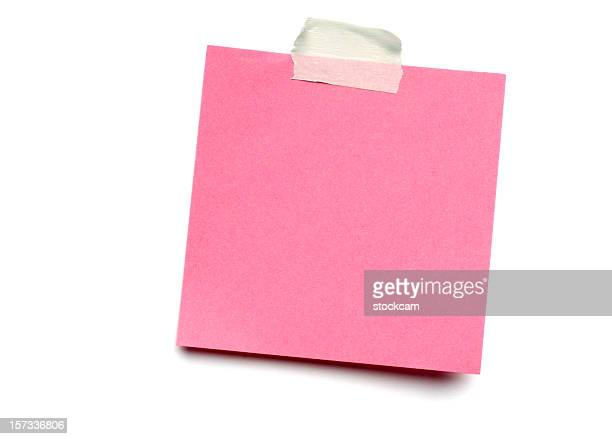 pink postit note on white - adhesive tape stock pictures, royalty-free photos & images