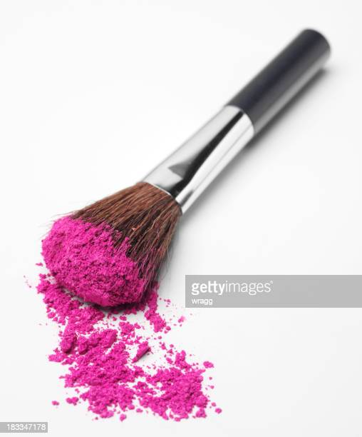 Pink Powder Eyeshadow on a Brush
