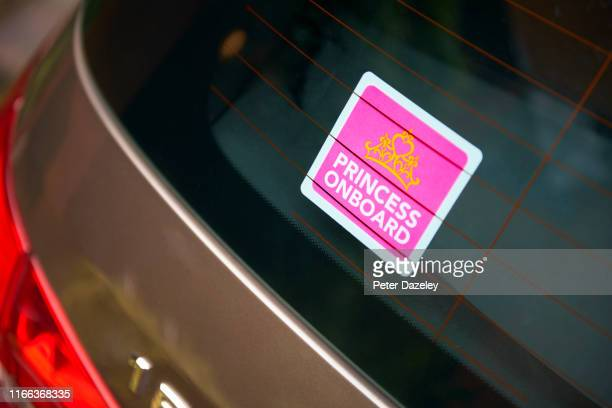 pink 'princess on board' car sticker - fragile sticker stock pictures, royalty-free photos & images
