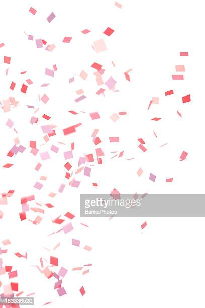 pink, purple and red confetti falling, isolated on white - confetti stock pictures, royalty-free photos & images