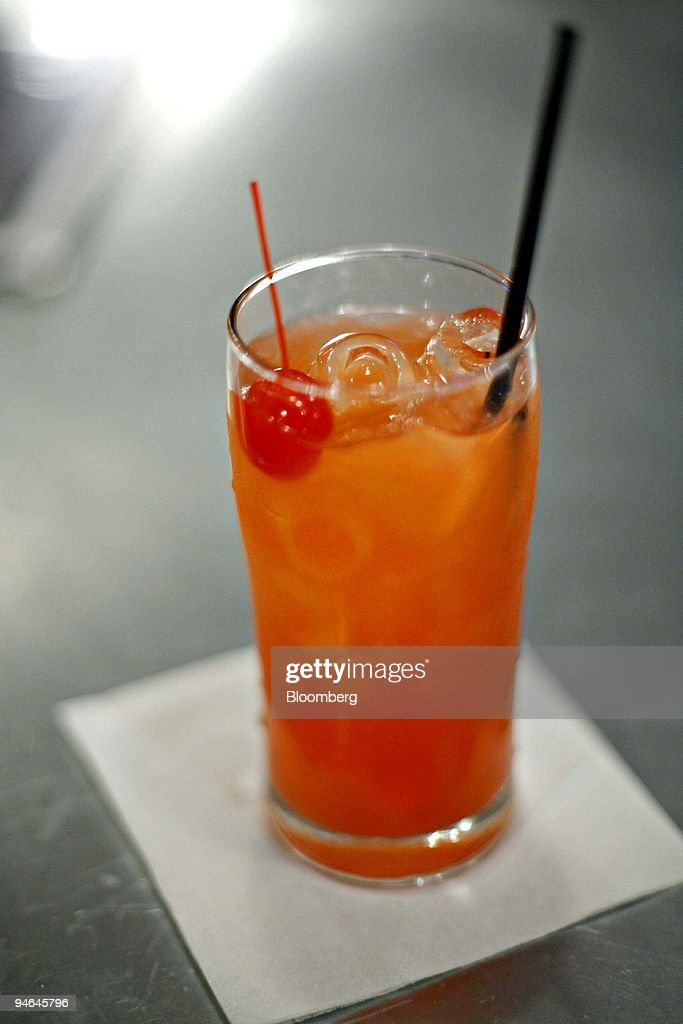 A pink pussycat cocktail is arranged on the bar at The Smith : News Photo