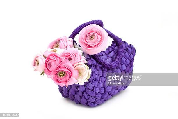 Pink ranunculus in purple basket