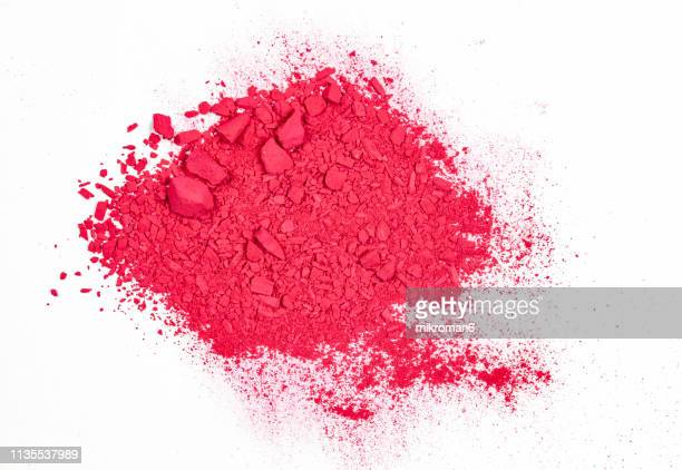 pink/ red pile of pigment powder on a white background - talcum powder stock pictures, royalty-free photos & images