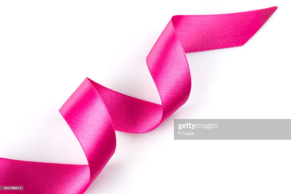 Pink ribbon over white : Stock Photo