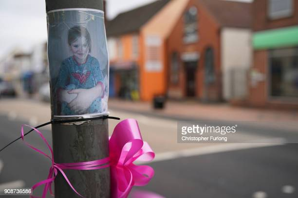 Pink ribbons are left in tribute to murdered Mylee Billingham aged eight on street furniture in Brownhills High Street on January 22 2018 in Walsall...