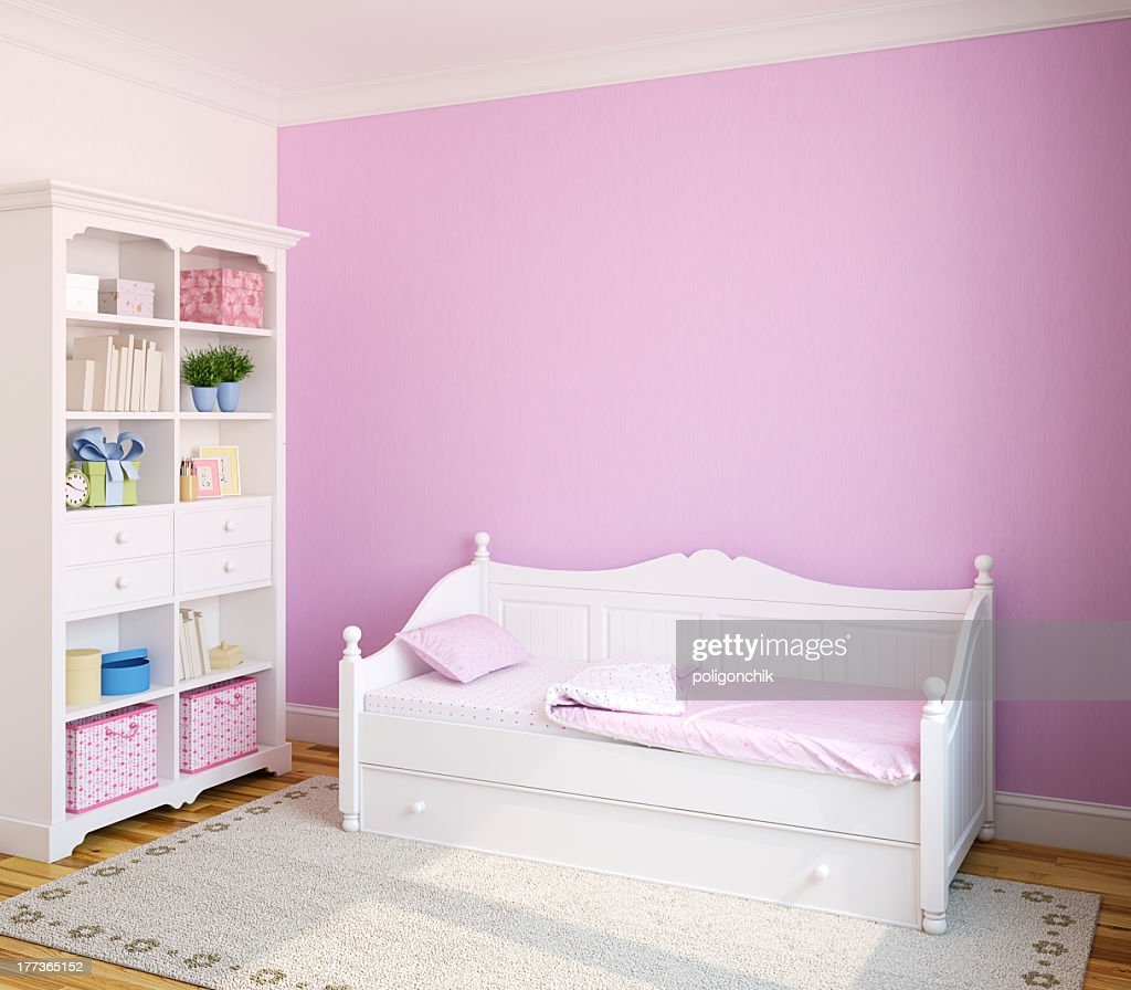 Pink Room With White Toddler Bed And Bookshelf Stock Photo