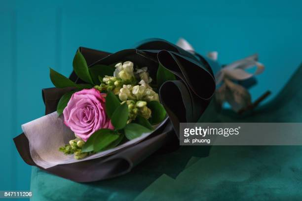 Pink rose with blur background
