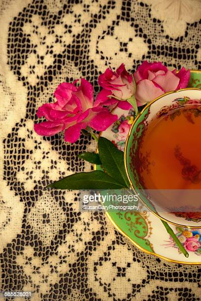 Pink Roses with Vintage Cup of Tea