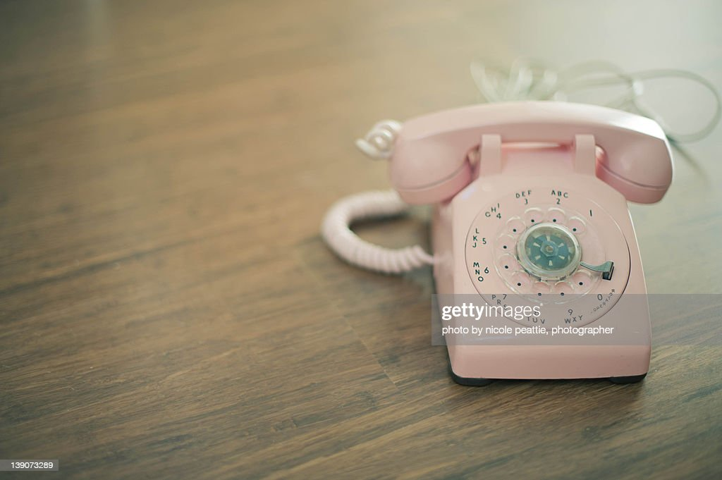 pink rotary telephone : Stock-Foto