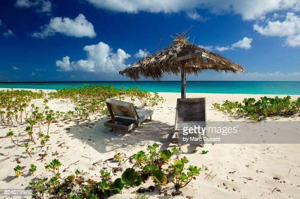Pink Sand Beach Umbrella and Lounge Chairs, Barbuda, Antigua & Barbuda