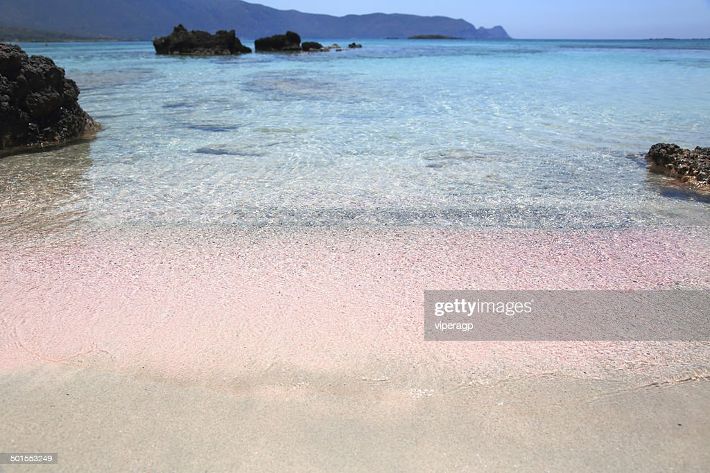 Pink sand beach with crystal waters Elafonisi Crete : Stock Photo