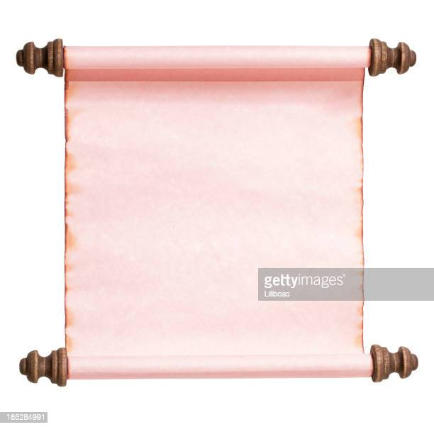 Pink Scroll Isolated on White