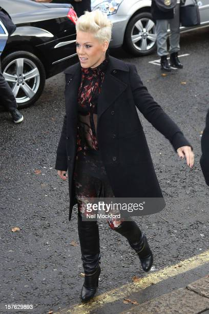 Pink seen arriving at BBC Maida Vale Studios on December 5 2012 in London England