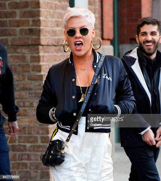 Pink seen leaving a hotel on April 6 2018 in New York City