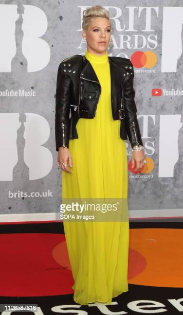 Pink seen on the red carpet during The BRIT Awards 2019 at The O2 Peninsula Square in London