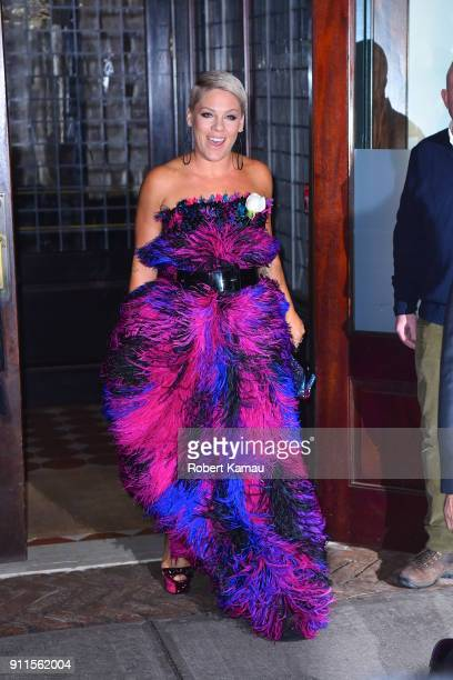 Pink seen out for the 2018 Grammys on January 28 2018 in New York City