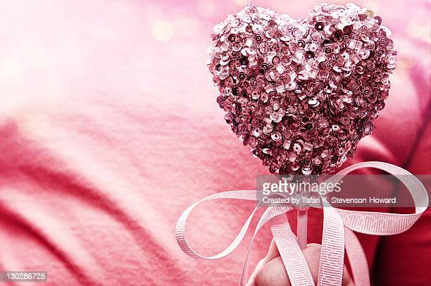 Pink sequined valentine's day heart.