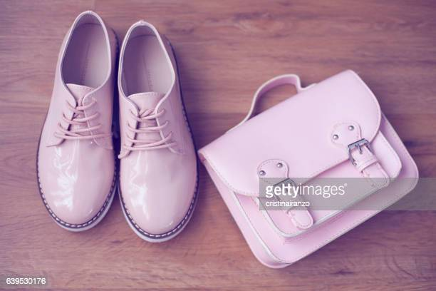 pink shoes and bag - pink shoe stock photos and pictures