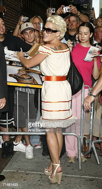 Pink signs autographs at The Late Show with David Letterman July 20 2006 in New York City