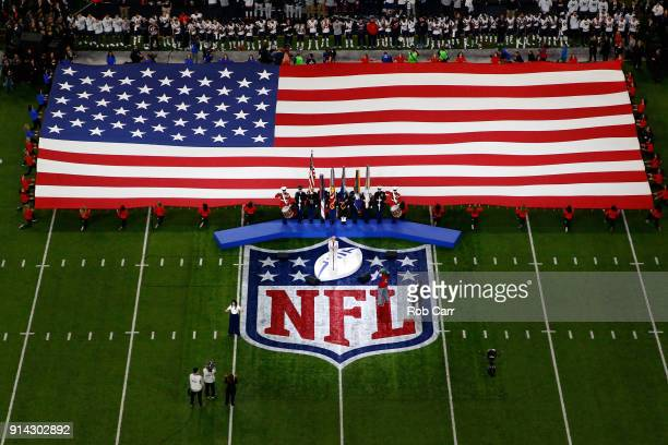 Pink sings the national anthem prior to Super Bowl LII between the New England Patriots and the Philadelphia Eagles at US Bank Stadium on February 4...