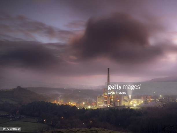 Pink sky before dawn overlooking the Cement works in the Hope valley near Castleton.
