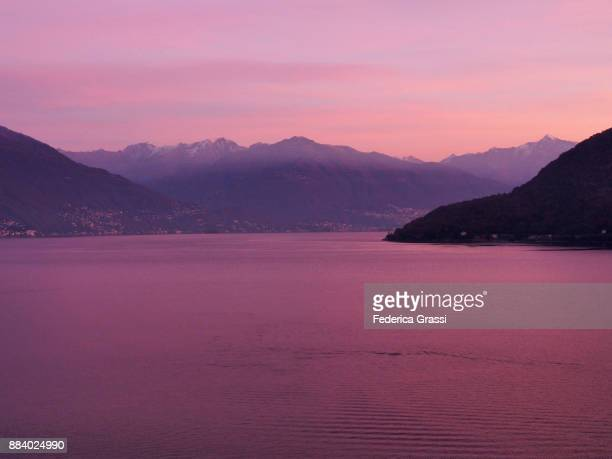 Pink Sky over Lake Maggiore in Northern Italy