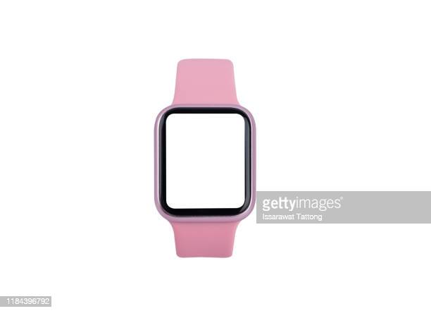 pink smart watch on white background - editorial stock pictures, royalty-free photos & images