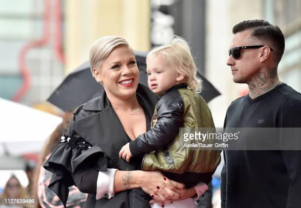 Pink son Jameson Moon Hart and Carey Hart attend the ceremony honoring Pink with Star on the Hollywood Walk of Fame on February 05 2019 in Hollywood...