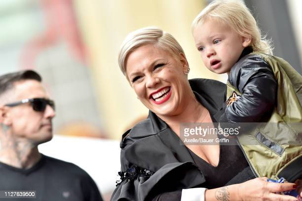Pink, son Jameson Moon Hart and Carey Hart attend the ceremony honoring Pink with Star on the Hollywood Walk of Fame on February 05, 2019 in...