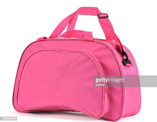 A pink sport bag on a white background