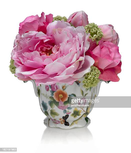 Printemps bouquet ROSE sur fond blanc