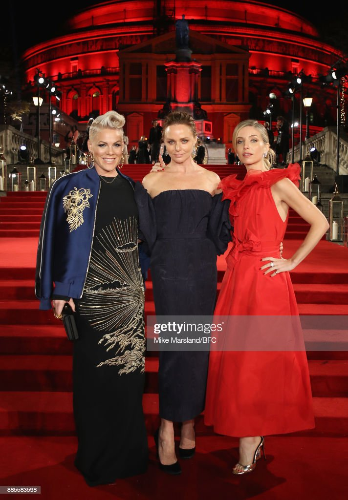 Pink, Stella McCartney and Annabelle Wallis attend The Fashion Awards 2017 in partnership with Swarovski at Royal Albert Hall on December 4, 2017 in London, England.