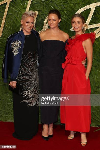 Pink Stella McCartney and Annabelle Wallis attends The Fashion Awards 2017 in partnership with Swarovski at Royal Albert Hall on December 4 2017 in...