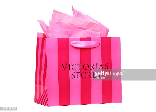 pink striped victoria's secret shopping bag - victoria's secret stock pictures, royalty-free photos & images