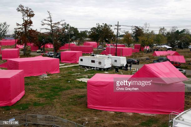 Pink structures resembling houses sit in the Lower Ninth ward as part of Actor Brad Pitt's Make it Right program on December 3 2007 in the Lower...