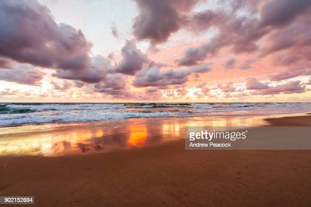 Pink sunrise colors wash over the ocean.