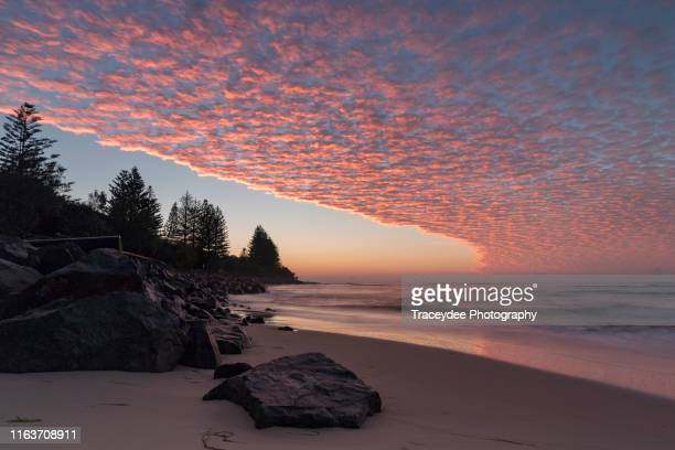 pink sunrise on the sunshine coast, queensland - moody sky stock pictures, royalty-free photos & images